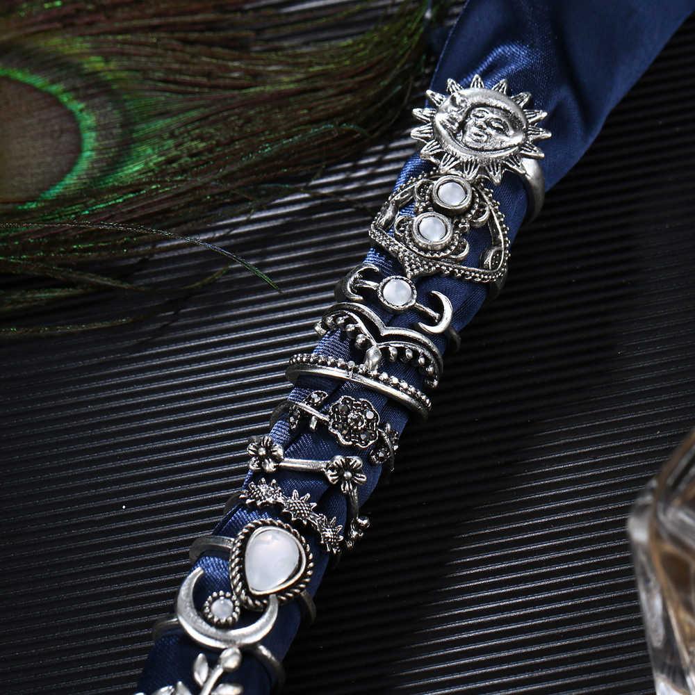 14 шт./компл. Boho Винтаж цветок лист Солнце Луна для средней фаланги пальца кольцо наборы для женские Кольца Кристалл Опал Камень Мода массивные ювелирные изделия