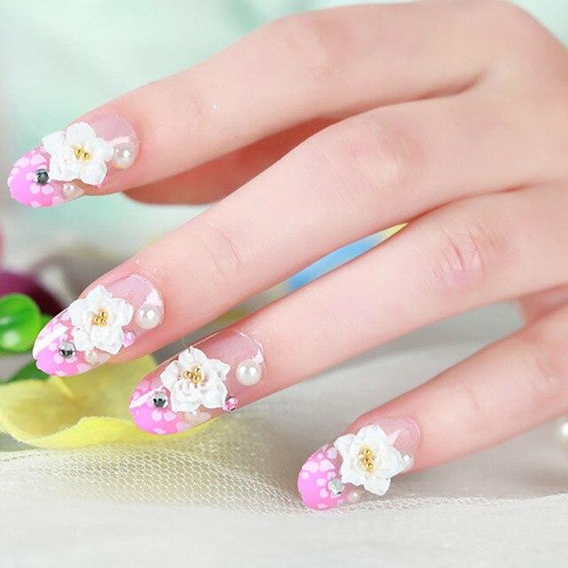 Pink primavera de flores mujer kawaii dedo falso del clavo tips nail ...