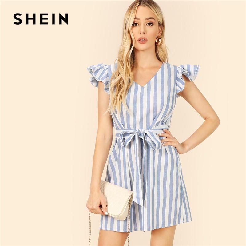 Шеин Boho слоистых рюшами отделкой v-образным вырезом Self поясом в полоску летнее короткое платье для женщин без рукавов трапециевидной формы ...