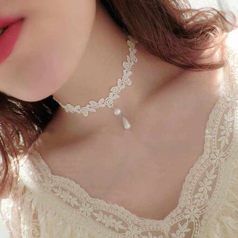 Gothic White Lace Choker Necklace For Women Simulated Pearl Charm Statement Necklaces Wedding Jewelry Accessories