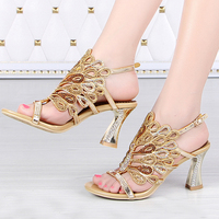Gold Blue Summer Sandals Rhinestone Chunky Heel Genuine Leather Sexy Wedding Shoes Prom Evening Party Dress