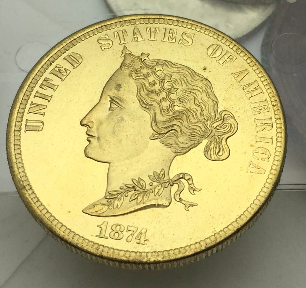 United States Of America Gold Coin 1874 Bickford Eagle 10 Ten Dollars Brass Copy Coin