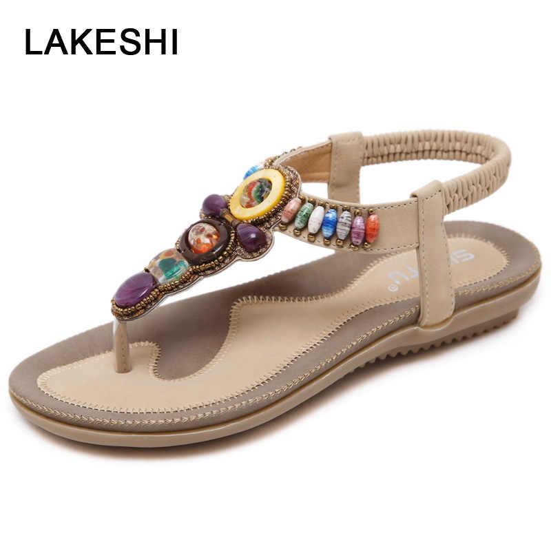 LAKESHI البوهيمي الصيف النساء الصنادل حجم كبير 44 45 النساء أحذية 2019 الوجه يتخبط النساء صندل مسطح صنادل شاطئ صنادل سيدات
