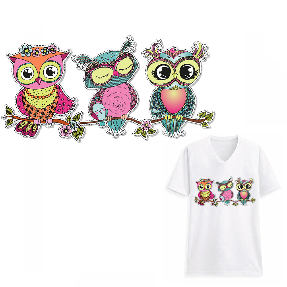 Xc owl baby clothes patches stickers birthday heat transfers diy accessory appliques iron on patch