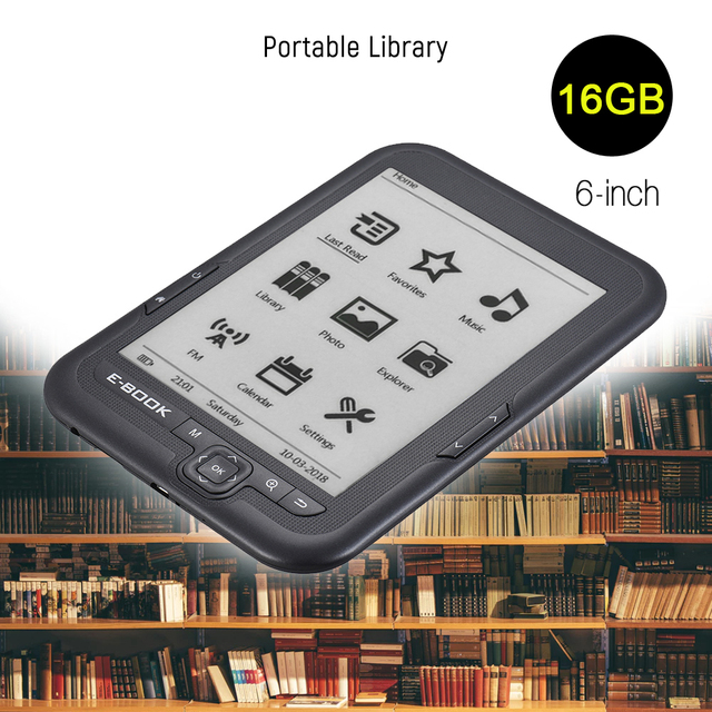 16GB 6 inch Non-Touch Screen E-reader E-ink Screen MP3 Player with Turn Page Buttons Leather Case Earphone 800x600 E-book Reader