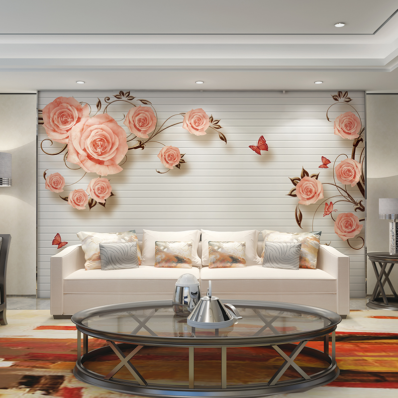 Rose Flower Butterfly Wallpapers Home Decor Papel Decorativo De Pared 3d  Wallpaper Walls Papel Mural Wallpaper For Walls 3 D In Wallpapers From Home  ...