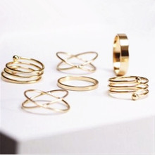 European and American trade retro exaggerated joint ring ring 6pcs / Lot cross between spring ring single ring wholesale