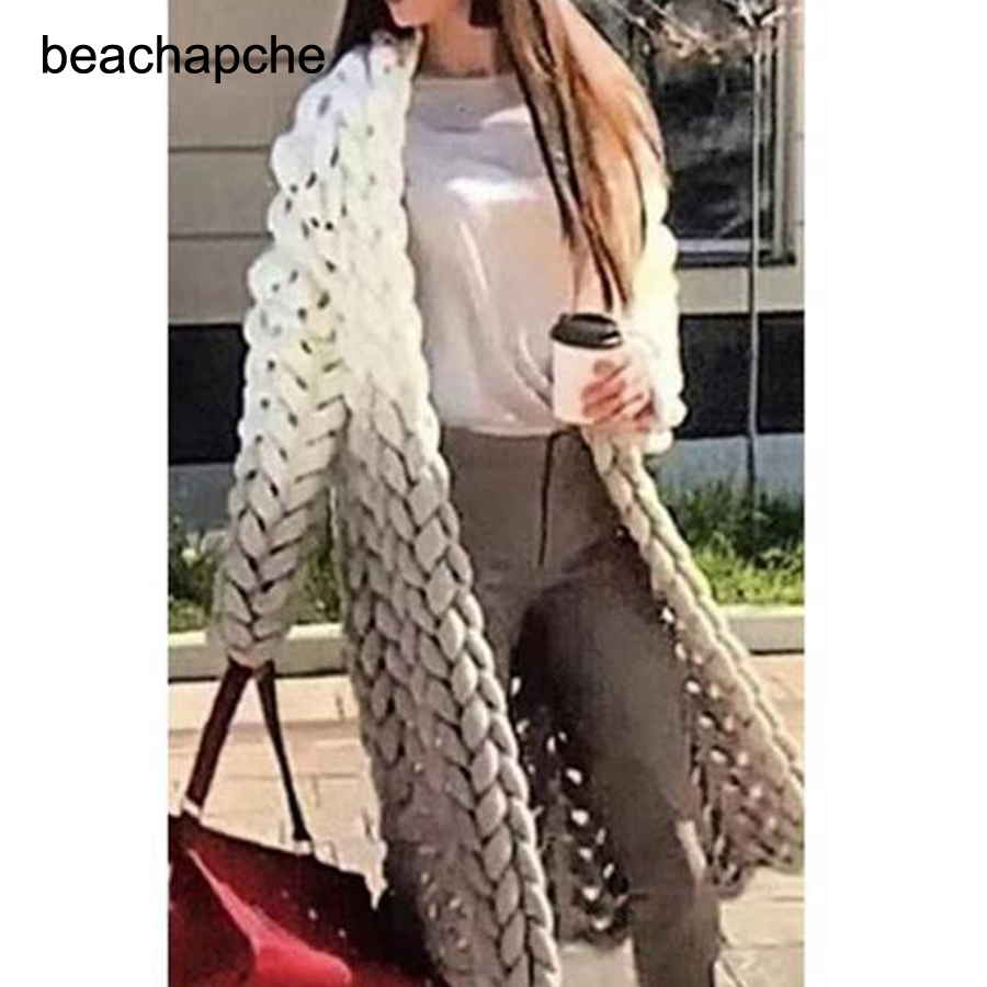2018 New Autumn and Winter Women's Retro Stereoscopic Loose Knitted Coat Casual Long Cardigan Coat Outwear Female Sweater
