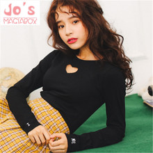 New Summer Letters Hollow Out Cute Lovely Sexy Ulzzang Harajuku Women O neck T-Shirts Casual Slim Long-Sleeve Tops TS031