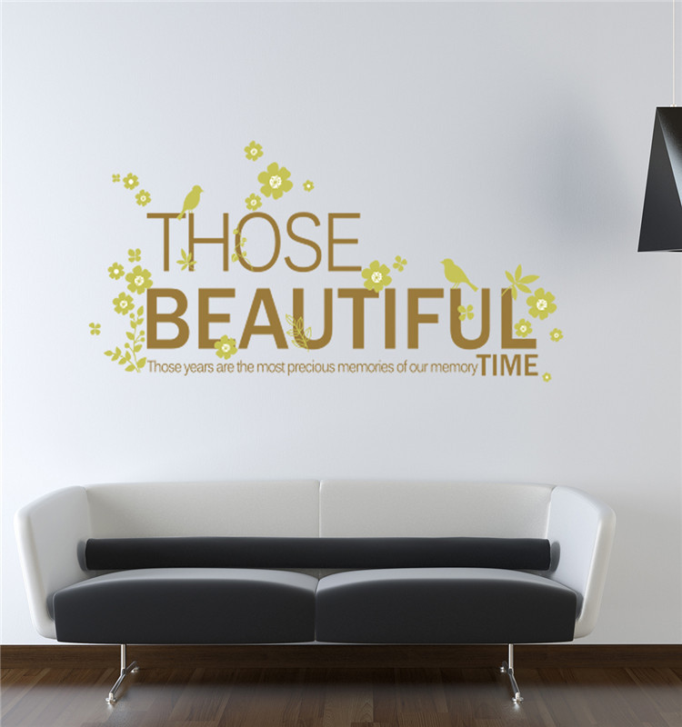 Home decoration wall stickers those beautiful time green - Beautiful wall stickers for living room ...