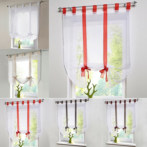 Voile Tulle Balloon Curtain Window Living Room Sheer Tie Up Blind Panel Curtain In Curtains From