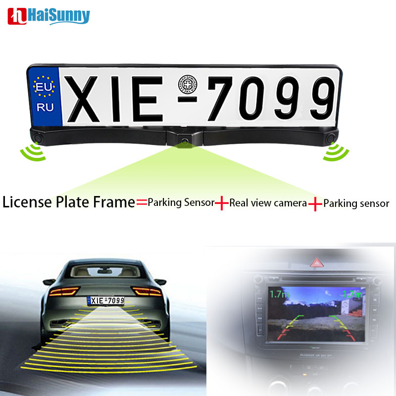 HaiSunny Reverse Backup Video Parking Assistance With 1 European Russia License Plate Frame +1 Rear view Camera+ 2 Radar Sensor 1 european license plate frame 1 car rear view camera 2 parking sensor automobiles number plate frame for license plate