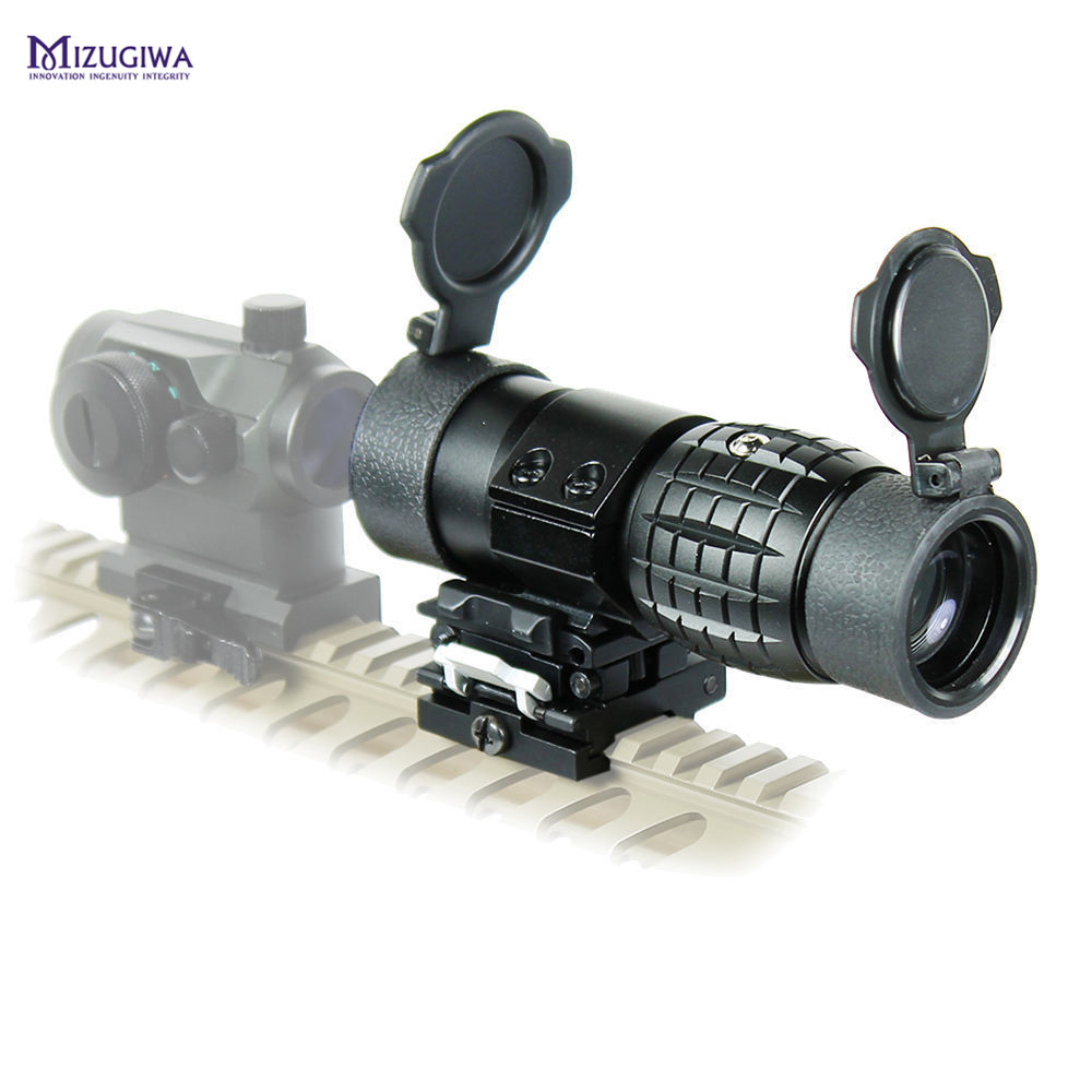 Tactical 3X Magnifier Riflescope Quick Release Sight Scope W/Picatinny 20mm Rail Flip Flip Up Mount to Side Mount Sniper Rifle