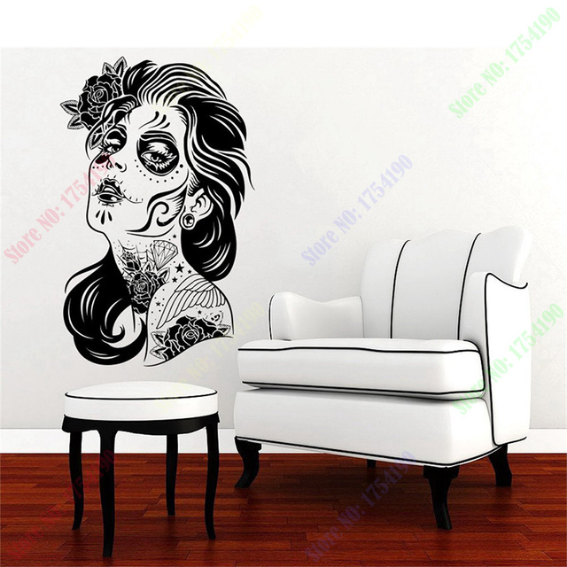 Happy halloween skull girl face hair tattoo salon zombie fashion vinyl carving wall decal sticker for
