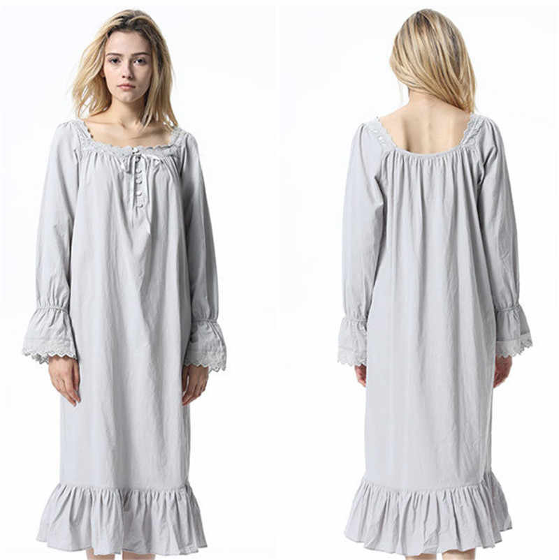 6fdf8fdae20 ... Soft Cotton Sleepwear Women Vintage Home Wear Night Dress Plus Size  Plain Long Nightgown Sleepshirt Ladies ...