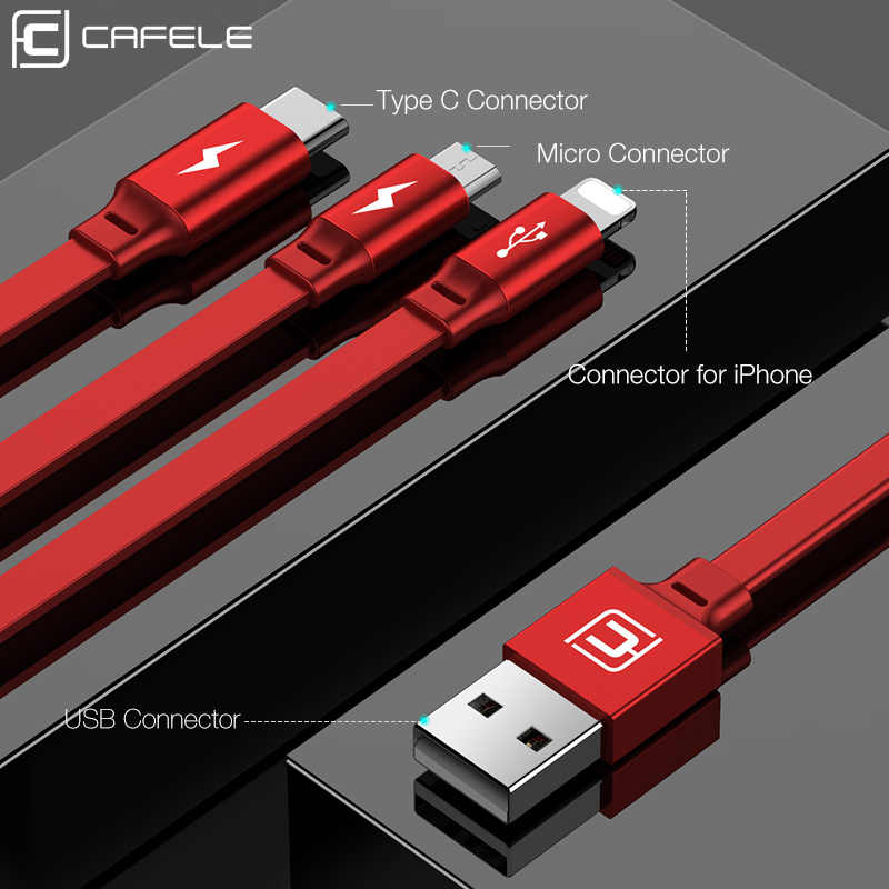 Caja protectora Cafele 3in1 USB tipo C Micro Cable tipo USB-c para iPhone cargador de Cable 120cm 3A de carga rápida USB Cable