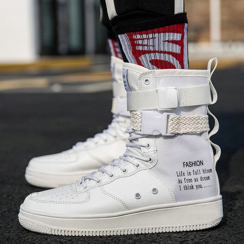 New Fashion Men Shoes Boots Sneakers High Top Casual Flats Shoes Male Hip-hop Mid Calf Boots Shoes Boys Buckle Shoes Pp-38 Men's Shoes Men's Boots