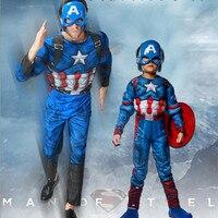 Película Muscular Capitán Americano COS Traje de Halloween Cosplay Masquerade Disfraces Venta Caliente 7188H177425 Adulto niño Entre Padres E Hijos