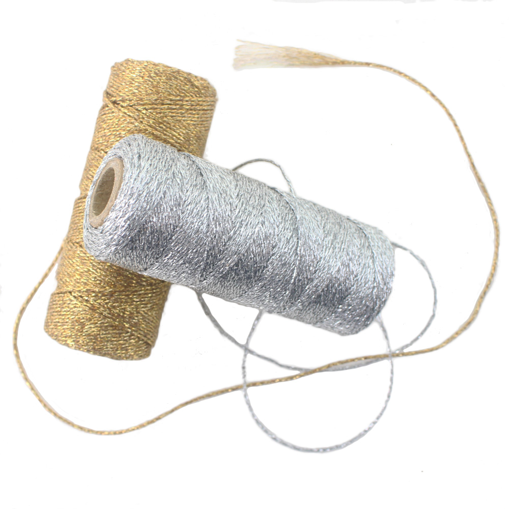 ipalmay 3pcs Gold/Silver Shiny Packaging Rope Twine, 12ply(110yard/Spool) Kid's Birthday Party Decorated Bakers Twine