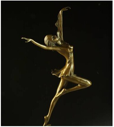 Handmade pure bronze dancer <font><b>elegant</b></font> girl dancing sculpture figurine lost wax statue <font><b>home</b></font> <font><b>decoration</b></font> hot cast