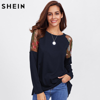 SHEIN Back Knot Raglan Sleeve Asymmetrical T Shirt Women Round Neck Long Sleeve Tops Embroidered Botanical