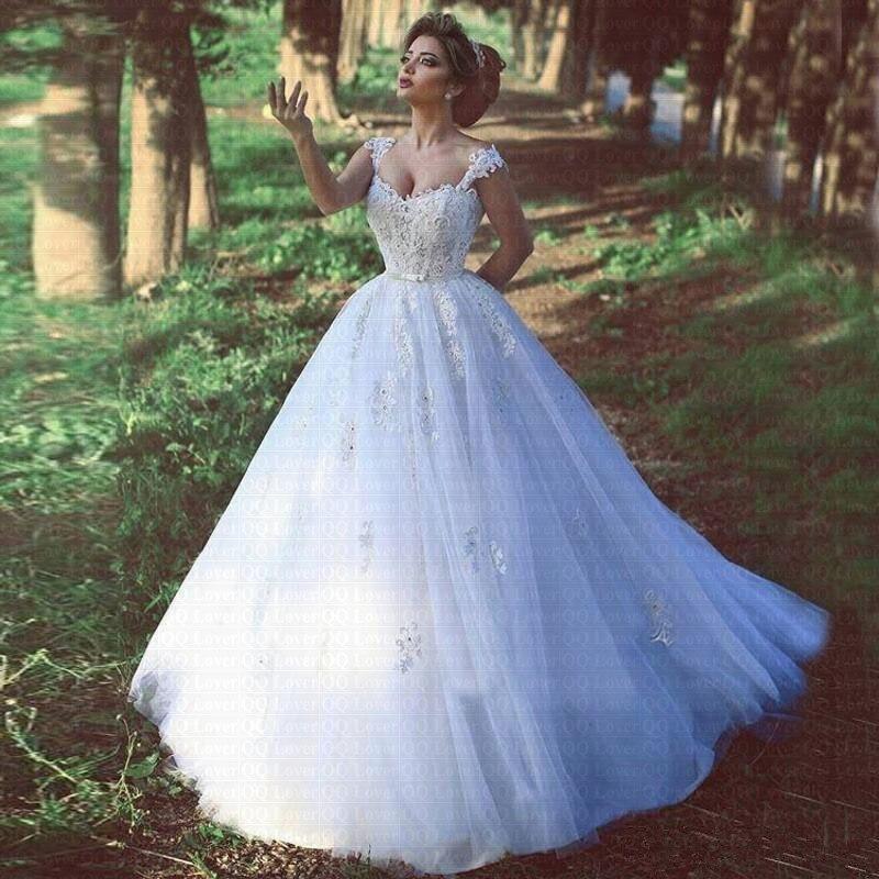 Vestido デ Noiva 2019 アラビアセクシーなスパゲッティストラップウェディングドレスアップリケレースローブデのみ   グループ上の ウェディング & イベント からの ウェディングドレス の中 1