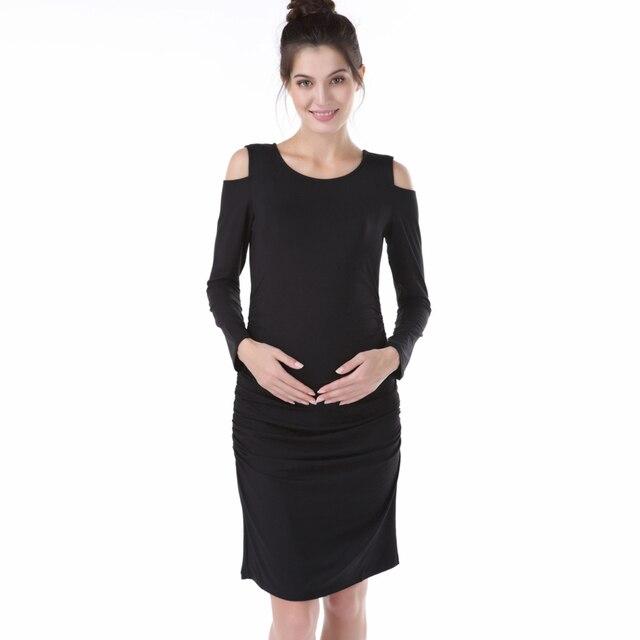 20d44824f11fa ملابس علوية بأكمام طويلة للربيع ملابس حمل مرونة فستان حمل نيس الأسود  Daywear اللباس للنساء الحوامل