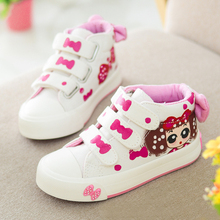 купить Children shoes girls flats for kids canvas shoes spring autumn cute cartoon hand-painted girls princess shoes students sneakers по цене 774.41 рублей