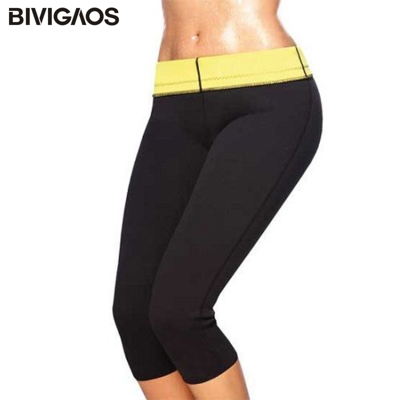 65ee56540c Neoprene Fat Burner Pants Hot Shapers Body Hugging Sweat Cropped Trousers  Workout Leggings women Capris Pants