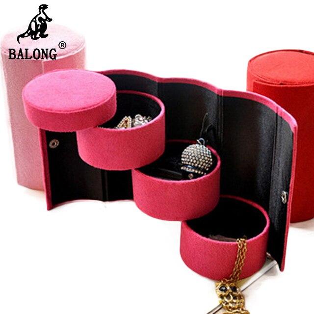 Cylinder Shape 3 Layer Jewelry Storage Box Necklace Bracelet