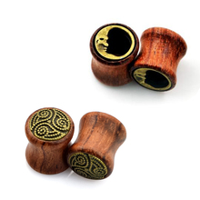2Pair Natural Wood Gemini Double Flared Saddle Ear Plugs Tunnels Expander Ear Gauges 8mm-20mm Body Piercing Jewelry