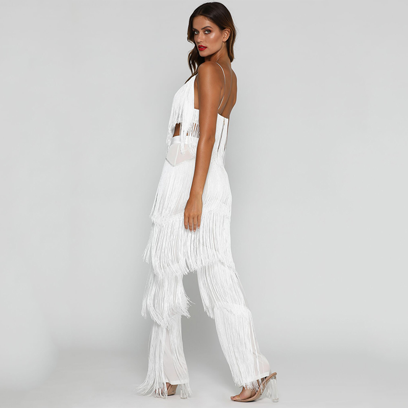 c4adde070808 2019 Feditch Autumn Long Jumpsuits For Women 2018 White Color Tassel ...