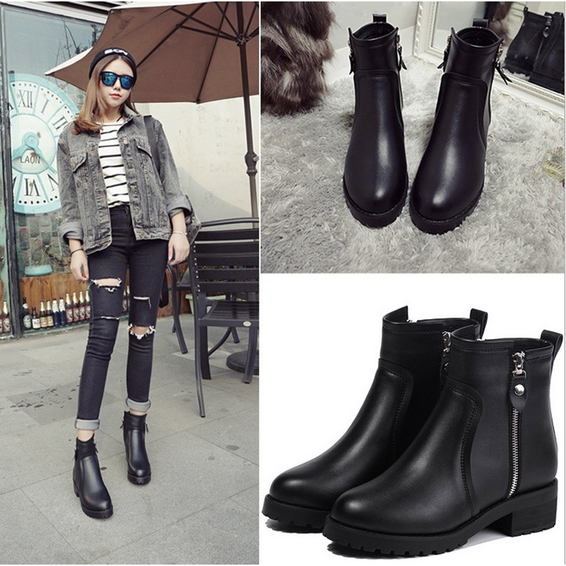 ФОТО 2016 Winter Ankle Boots Women Warm British Fashion Platform Motorcycle Martin Boots Shoes  LBY2017