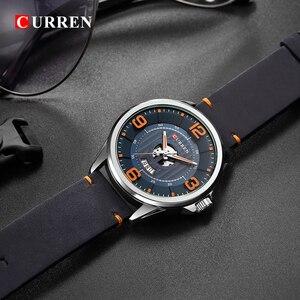 Image 3 - CURREN Relojes para Hombre, reloj de pulsera de cuero, analógico, militar, de cuarzo, resistente al agua, masculino