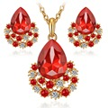 jewelry sets gold plated women girls fashion austrian crystal wedding bridal nigerian african party necklace earings set gifts