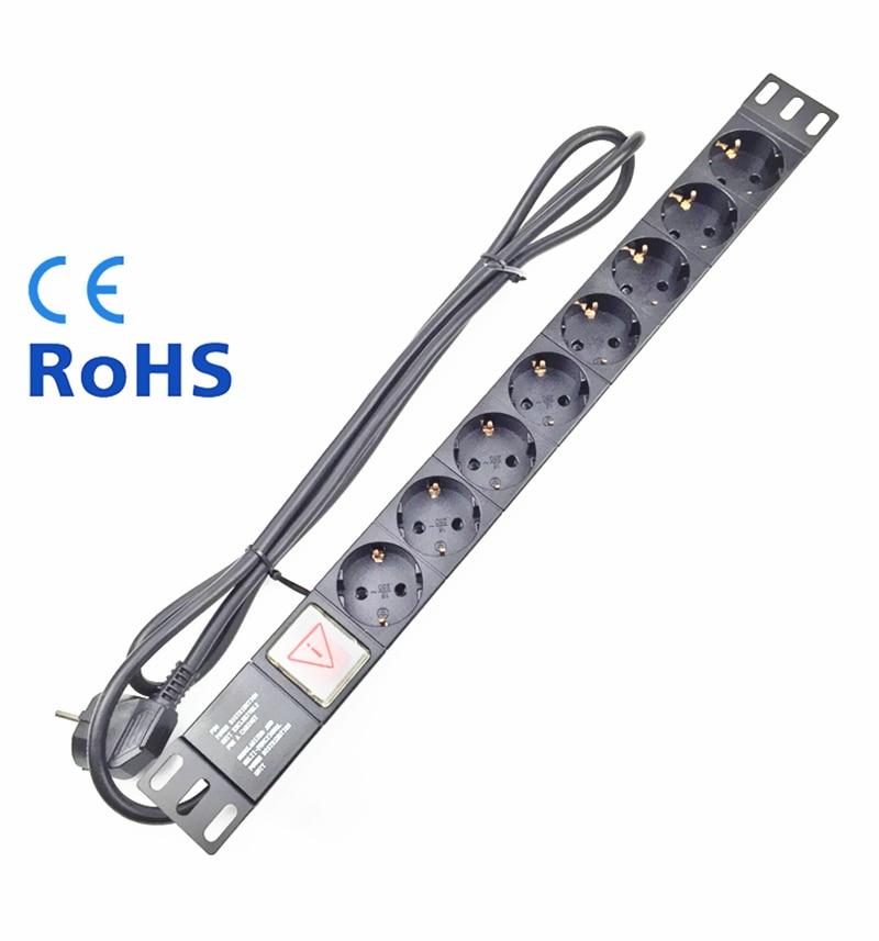 8 prises de courant EU prise d'extension prise de courant AC chargeur prise murale prise de courant principale adaptateur de bande d'alimentation avec câble d'extension