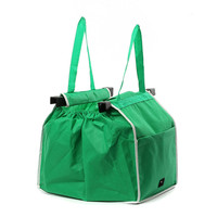 Non Woven Green Supermarkets Large Capacity Trolley Shopping Bags For Storage Baskets Green Can Be Used