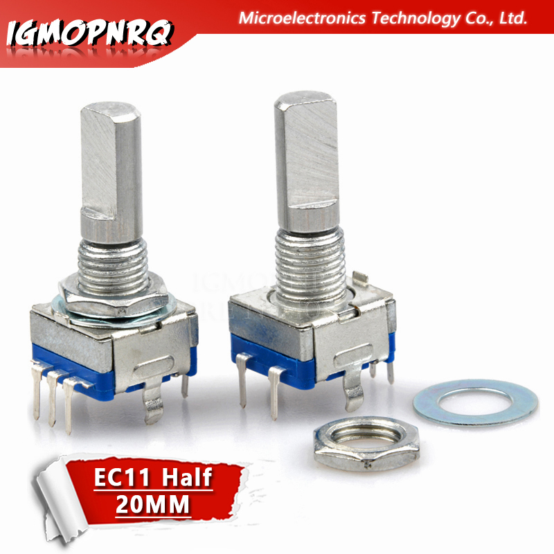 2PCS Half Axis Rotary Encoder,handle Length 20mm Code Switch/EC11/ Digital Potentiometer With Switch 5Pin