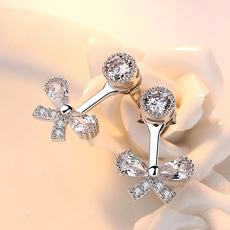 100 925 sterling silver fashion butterfly shiny crystal ladies stud earrings women jewelry female Christmas gift drop shipping in Stud Earrings from Jewelry Accessories