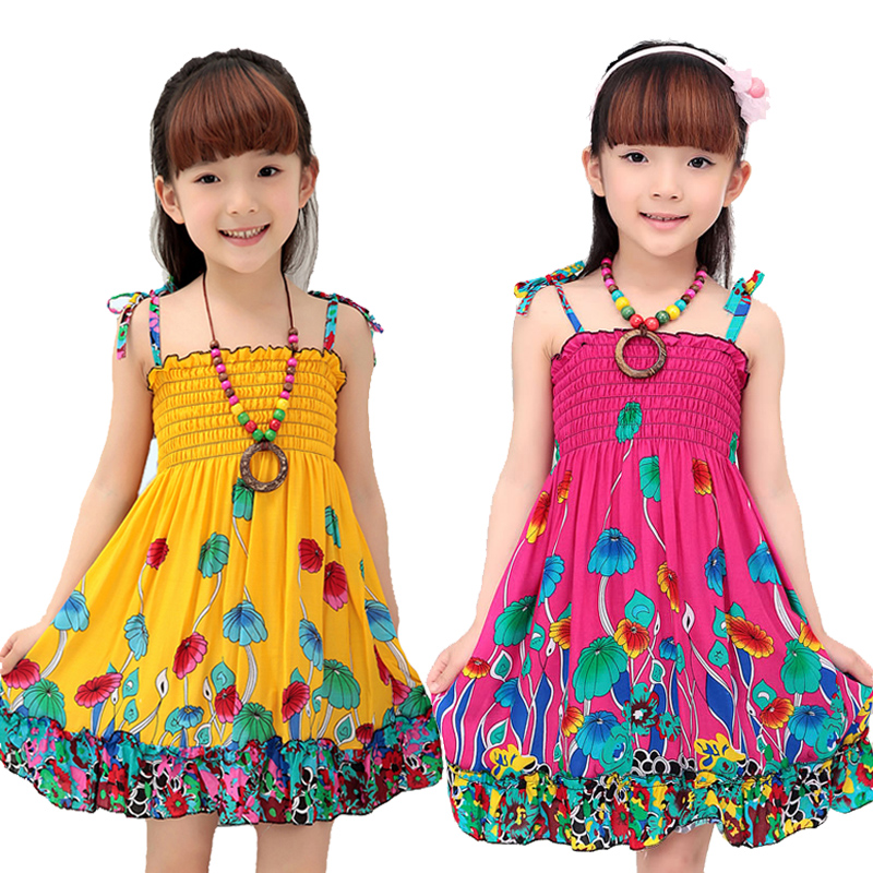 Girls Dress Summer Fashion Sling Floral Kids Dress Princess Bohemian Children Dresses Beach Girls Clothes 3 4 6 7 8 10 12 Year(China)