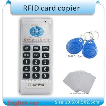 english version supper rfid nfc copier id ic reader writer id h id ic Updated Handheld 125Khz-13.56MHZ RFID Copier Duplicator Cloner ID/IC card reader & writer + 10pcs 125KHZ +2pcs 13.56MHZ cards