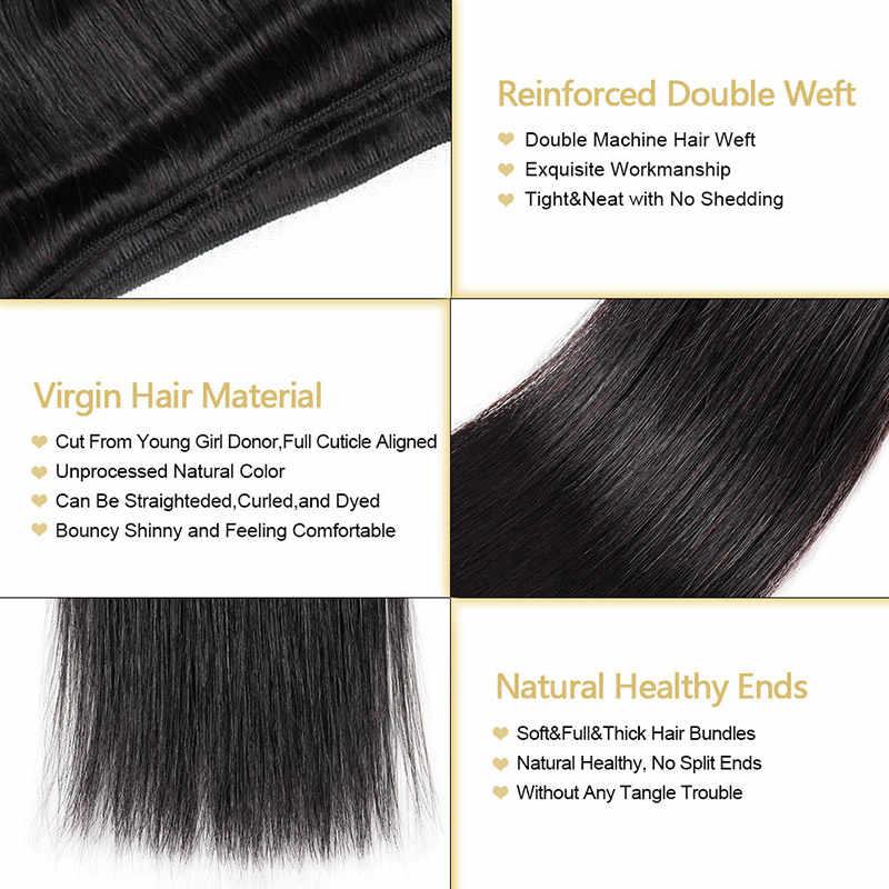4 шт. Малайзии прямые волосы Связки с закрытием 4x4 Бесплатный Ближний три части закрытия с пучками Прямые локоны Фунми