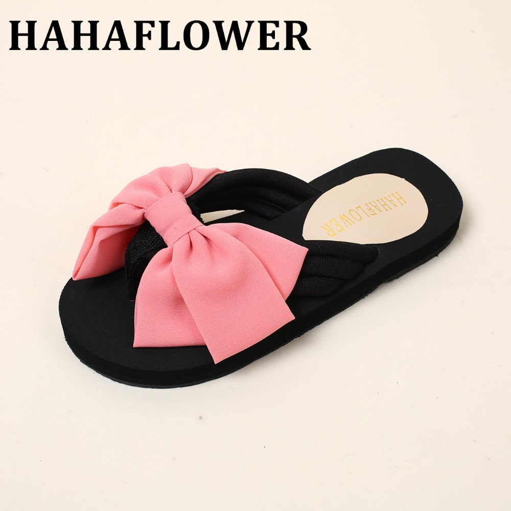 HAHAFLOWER Sweet Jelly Shoes Summer Women's Sandals Peep Toe Big  Bowtie Black Flat Shoes Woman free shipping zapatos mujer black red summer sweet bowtie flat sandals slip toe beach sandals butterfly knot flat sandals shoes plus size 44