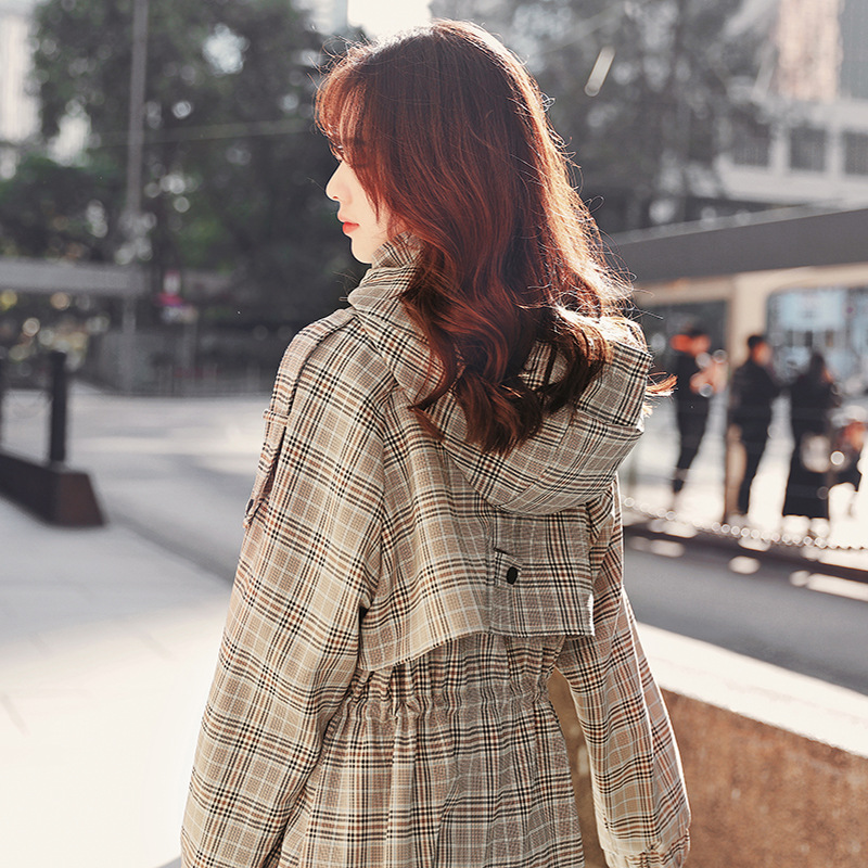 New Fashion Khaki Women's Long Korean Hooded   Trench   Coat Plaid Elegant Long Sleeve Elastic Waist Female Windbreaker