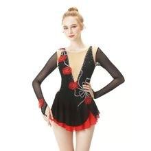 Черное платье для фигурного катания с длинным рукавом искусственный