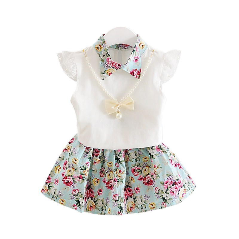 2018 New Summer Children Necklace Clothing Sets Girl T-shirt Skirt 2Pcs/Sets Fashion Baby Floral Suits Infant Casual Outfit 2017 new fall mustard yellow children sets ruffle butterfly sleeves infants clothing baby girl nursing accessory apparel