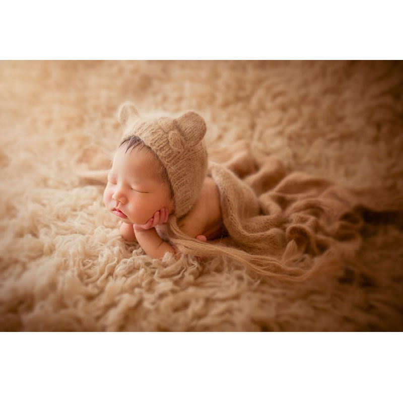 Mohair wrap with matching bear hat stretch soft blanket baby photography props cute bonnet baby swaddle newborn photo props