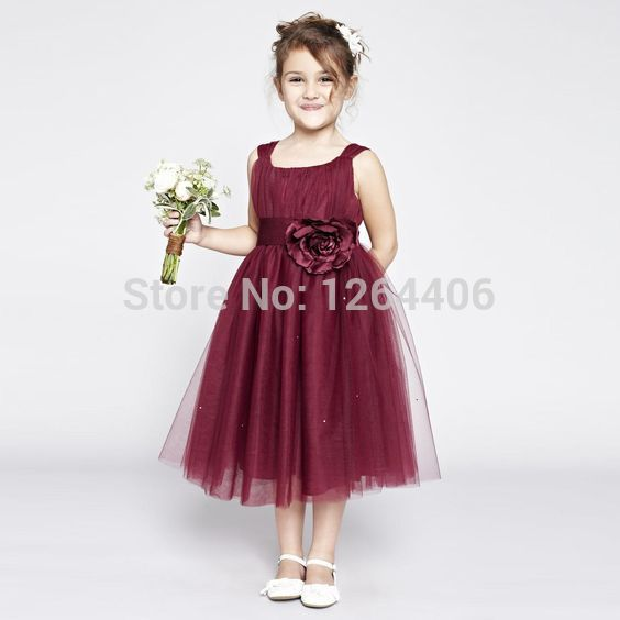 0c822ad73 Lovely Little Flower Girls  Wedding Party Dresses Burgundy Tulle ...