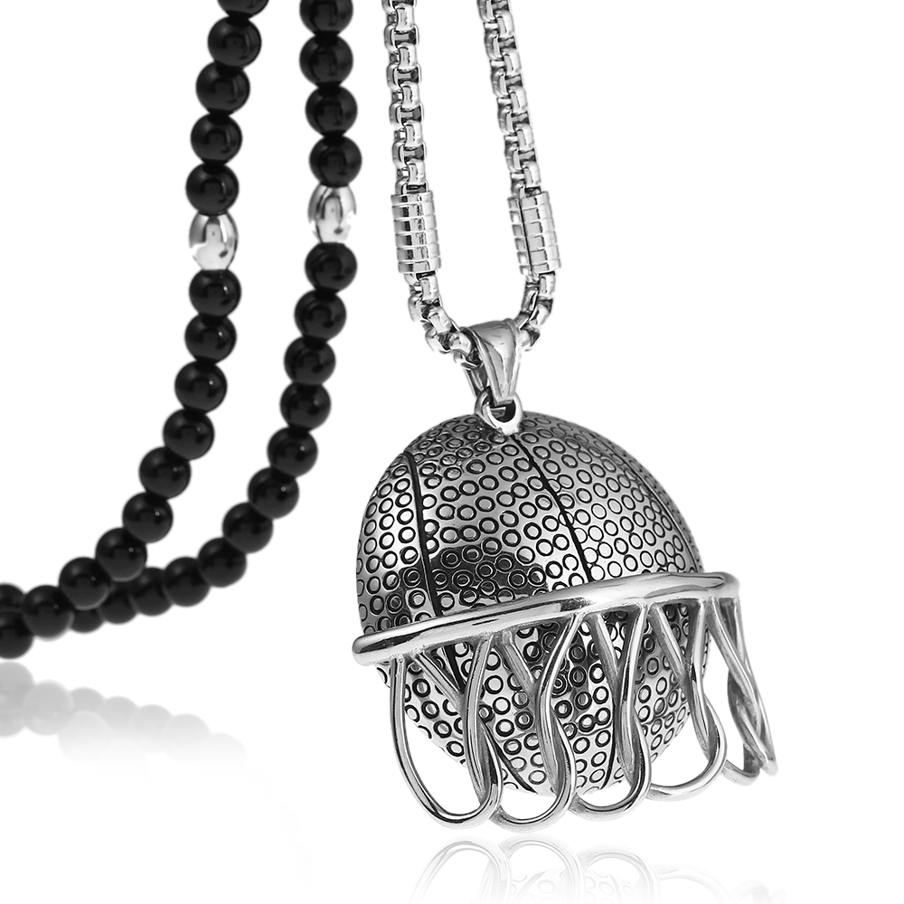 American Football Helmet Stainless Steel Sports Pendant Necklace with Black Natural Stone Chain 26
