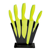 6pcs Knife Set Colorful Kitchen Knife with Plastic Holder Stand Kitchen Tools